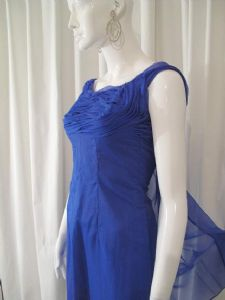 1960's Cobalt blue nylon organza fitted vintage cocktail dress